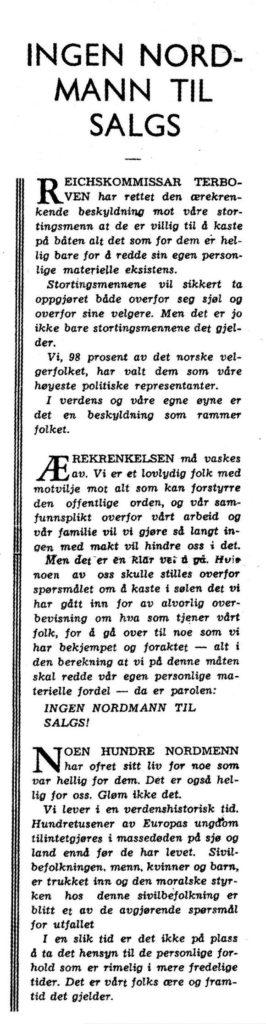 Trond hegnas leder i 1 Mai. Trykket 28 September 1940